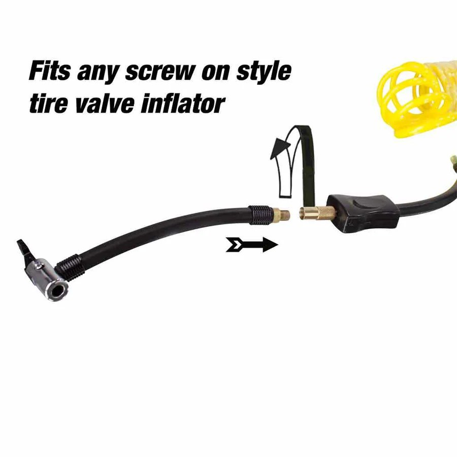 medium resolution of air compressor hose connecting to screw on valve tire inflator