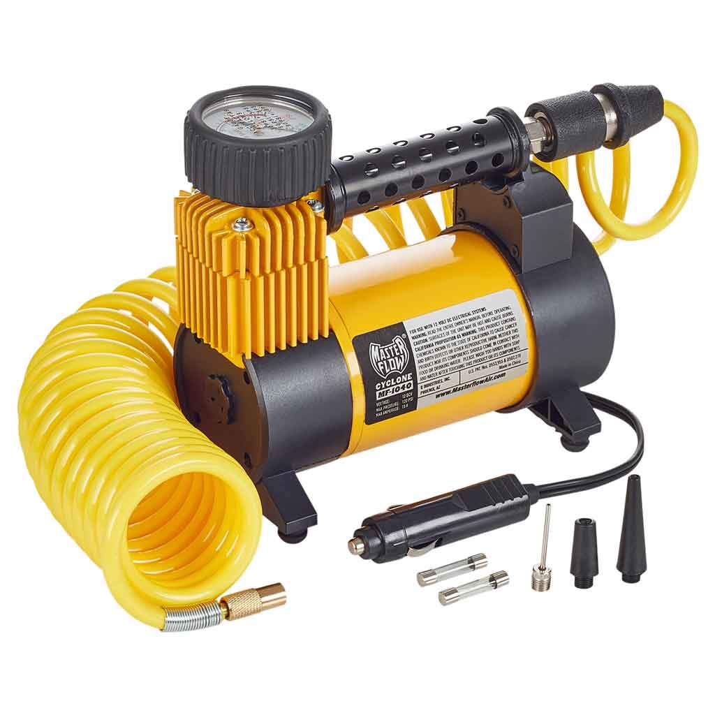 masterflow mf 1040 cyclone air compressor for standard sized vehicle pickup and suv tires portable 12 volt  [ 1024 x 1024 Pixel ]