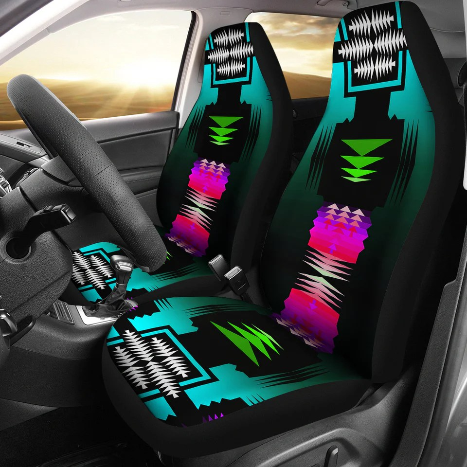 black fire turquoise car seat covers