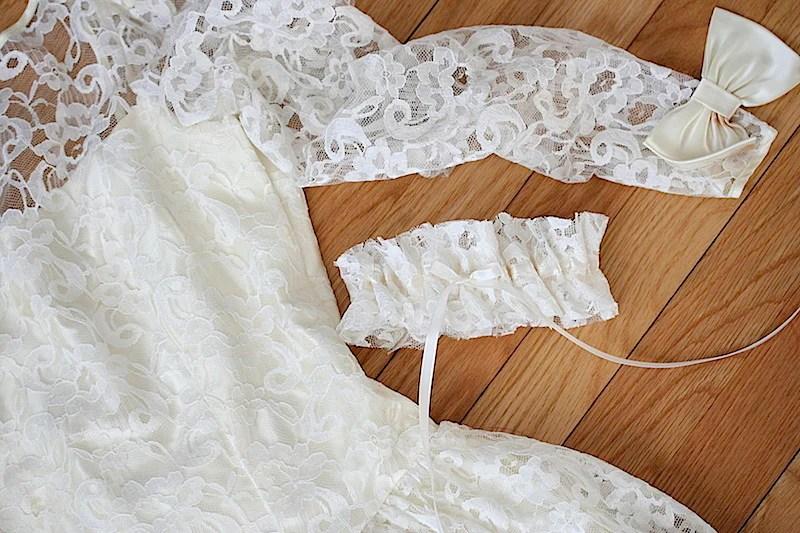 Bridal Garter Made From Mother's Wedding Dress