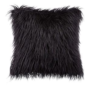 fluffy black pillows