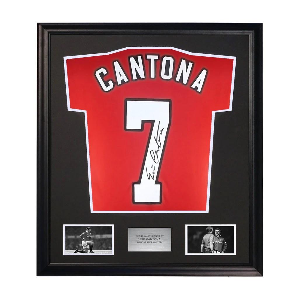 1992/93 cantona #7 manchester united vintage umbro away football shirt (l). Eric Cantona Back Signed Manchester United Shirt with ...