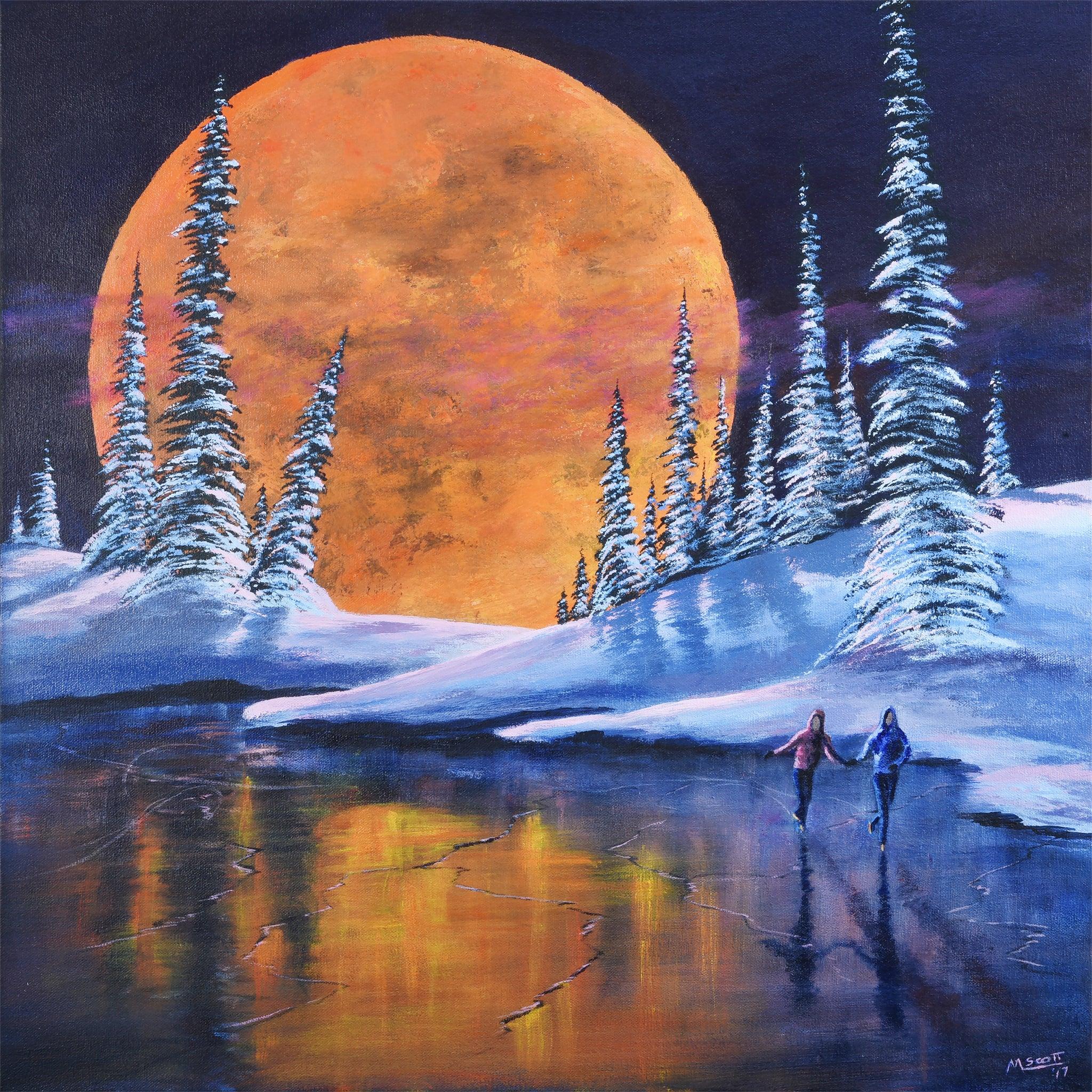 Original Ice Skating Painting Romantic Moon Snow