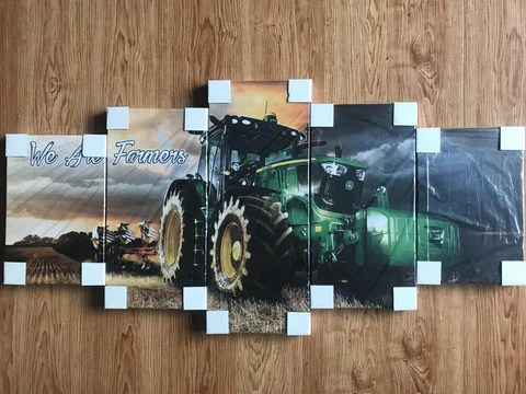 5-pieceTractor and Farm Life printed Canvas Wall Art 3
