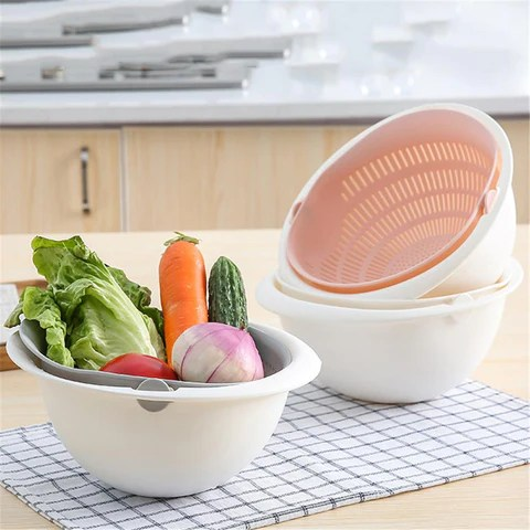 kitchen fruit basket faucets lowes multi functional drain plastic double layer vegetable washing image of portable