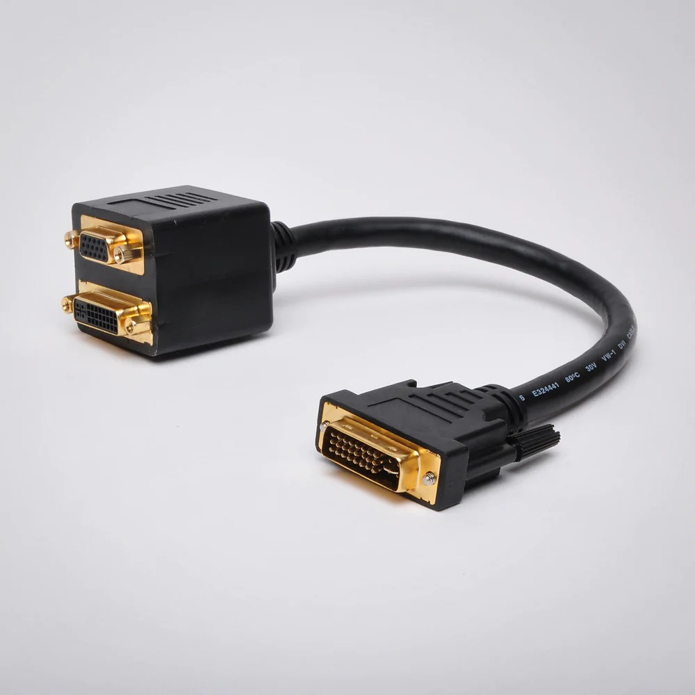 small resolution of 1ft dvi to dvi and vga adapter cable