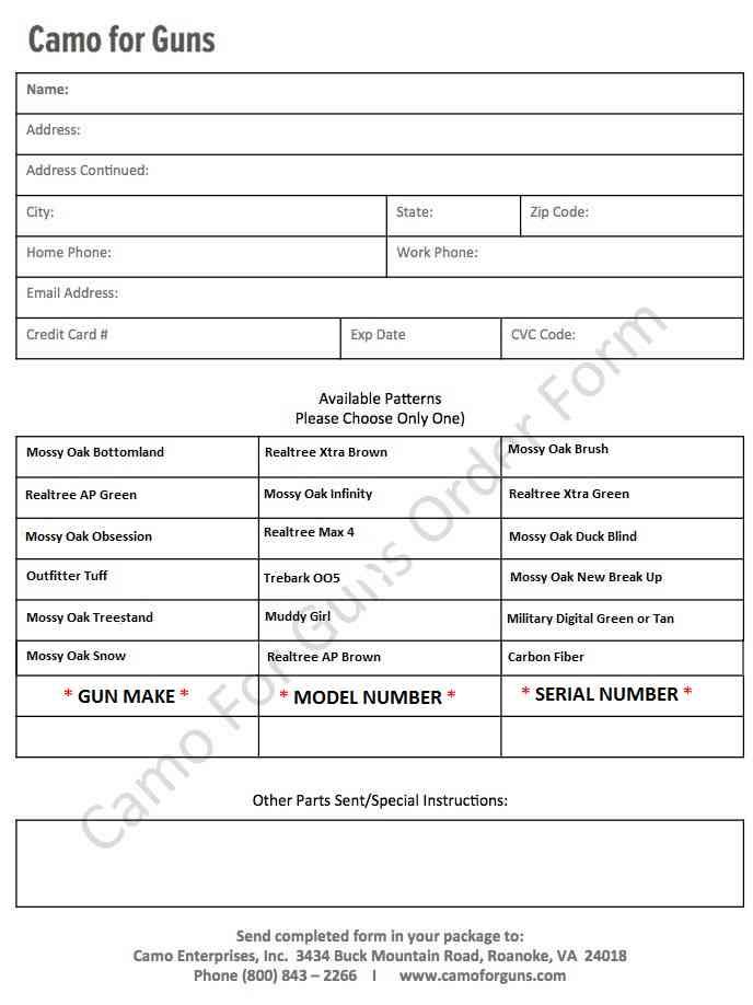 Printable Order Form – CamoForGuns.com