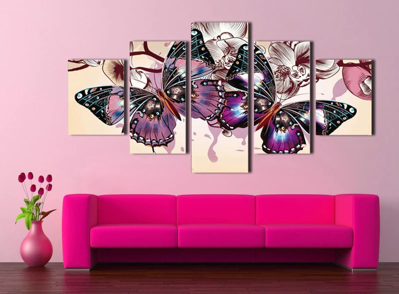 5 Panel Hd Printed Butterfly Wall Art Canvas Painting 054 4