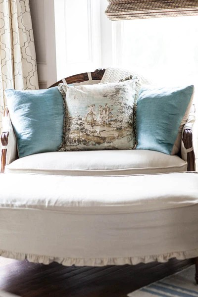 bucolic toile print pillow