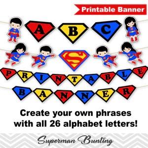 printable superman banner digital