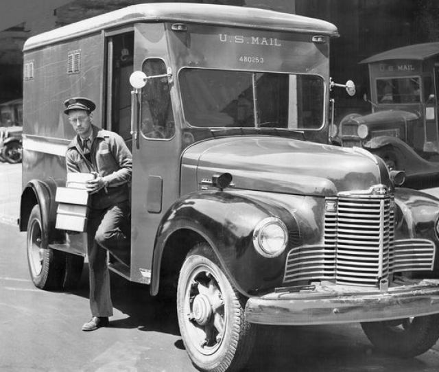 Harold H Robinson Delivering Parcels With A Posts Office Truck May 1948 Courtesy