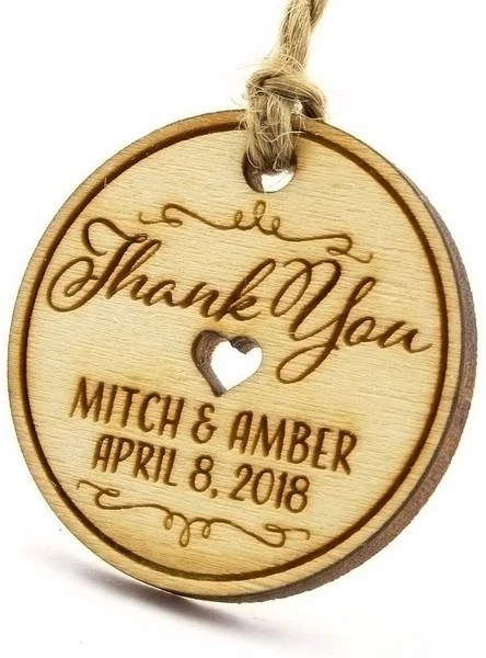 MINI ROUND WOODEN WEDDING FAVOR GIFT TAGS