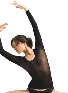see through longsleeve T shirts nylon gym gymnastics jazz