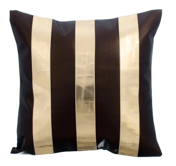 alternating gold brown faux leather throw pillow cover