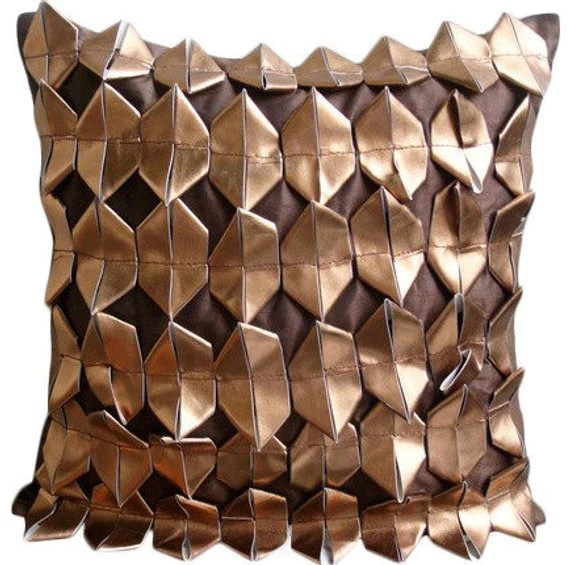 copper age brown faux leather throw pillow cover
