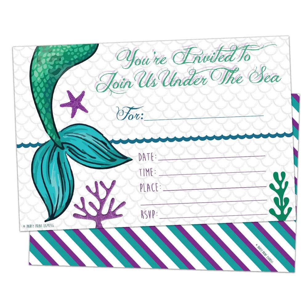 printed fill in blank mermaid birthday invitations