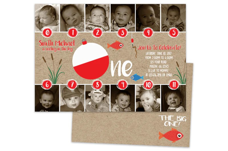 photo big one 1st birthday invitations