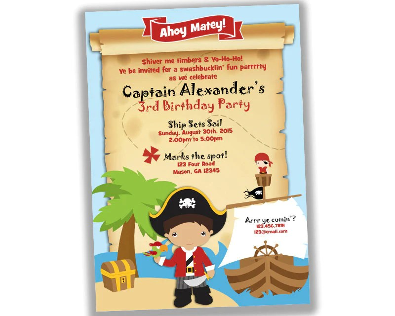 """The party blurb was """"aaarrr! Ahoy Pirate Birthday Party Invitations Map Party Print Express"""