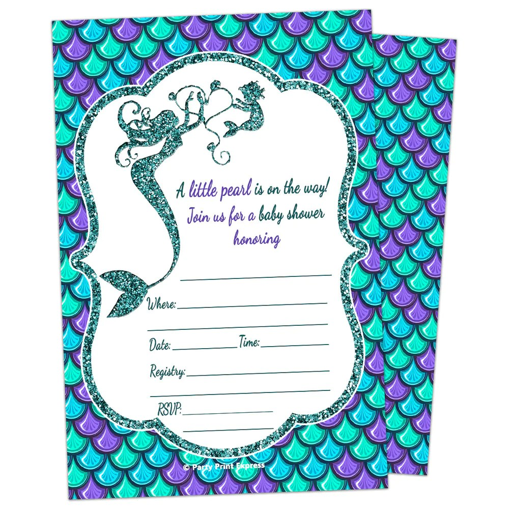 Printed Fill In Blank Glitter Mermaid Baby Shower