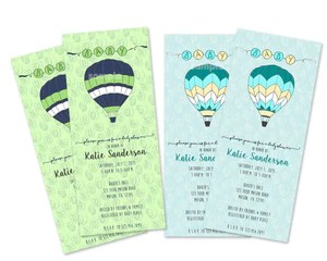 hot air balloon baby shower invitations vertical