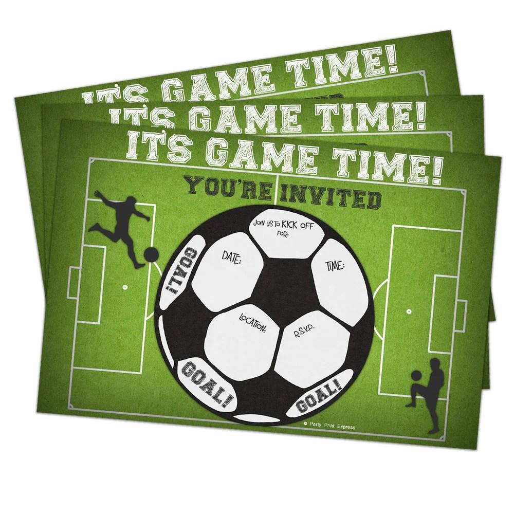 printed fill in blank soccer birthday invitations