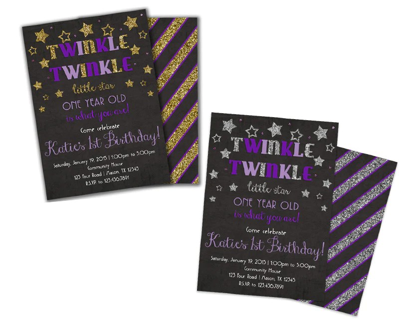 purple twinkle twinkle little star birthday invitation
