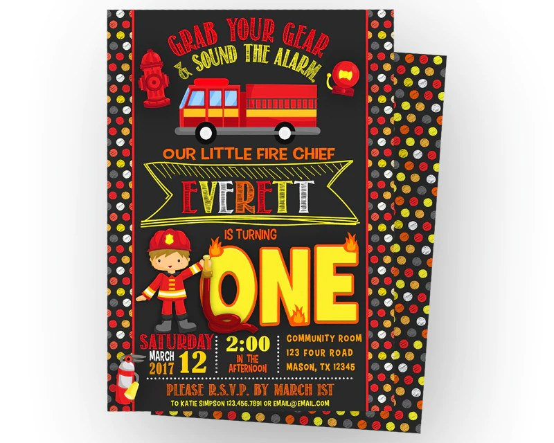 Our firefighter 1st birthday party supplies feature fire trucks, fire hats and chief badges on plates, napkins, cups and party decorations. Chalk Firefighter Birthday Invitations Any Age Party Print Express