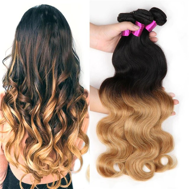 Honey Blonde Ombre 27 1b Brazilian Body Wave Hair Extensions Only