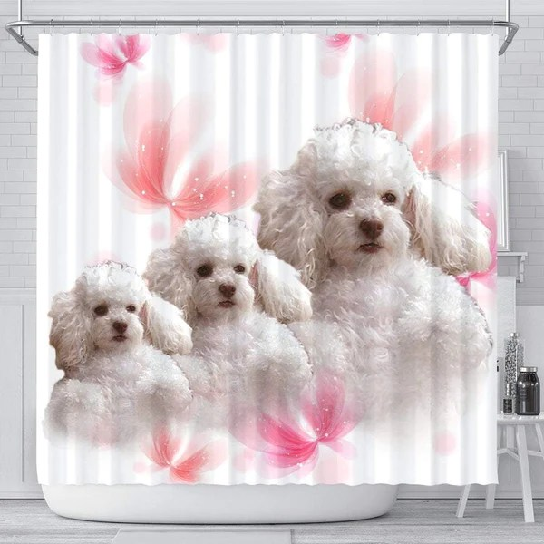 Cute Poodle Dog Print Shower Curtains Free Shipping Paws With Attitude