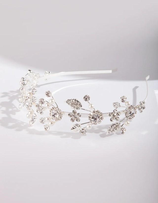 silver fine floral pearl headband