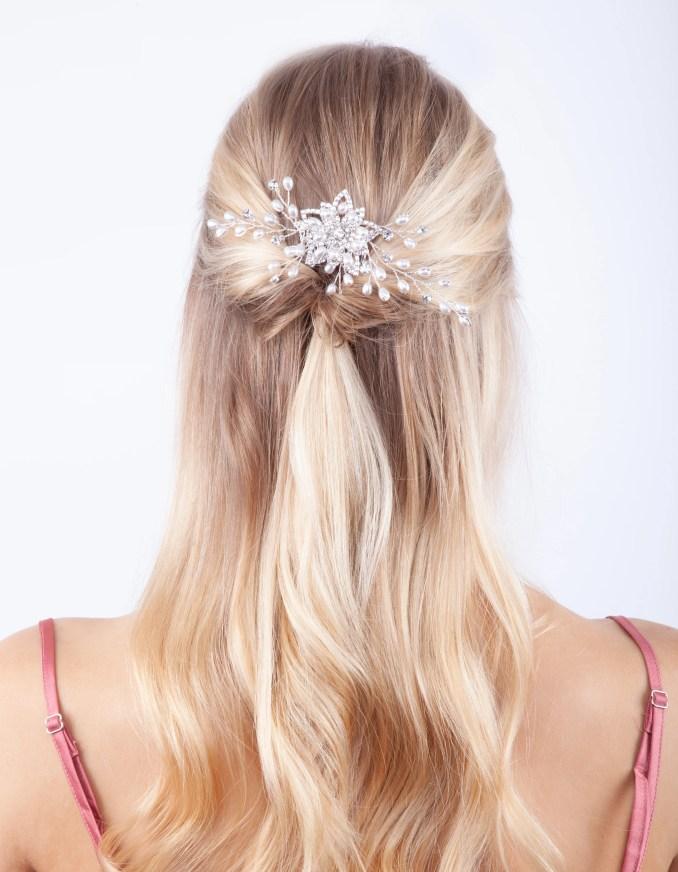 silver floating pearl diamante comb