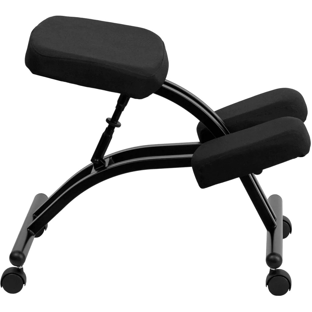 Mobile Chair Mobile Ergonomic Kneeling Chair In Black Fabric