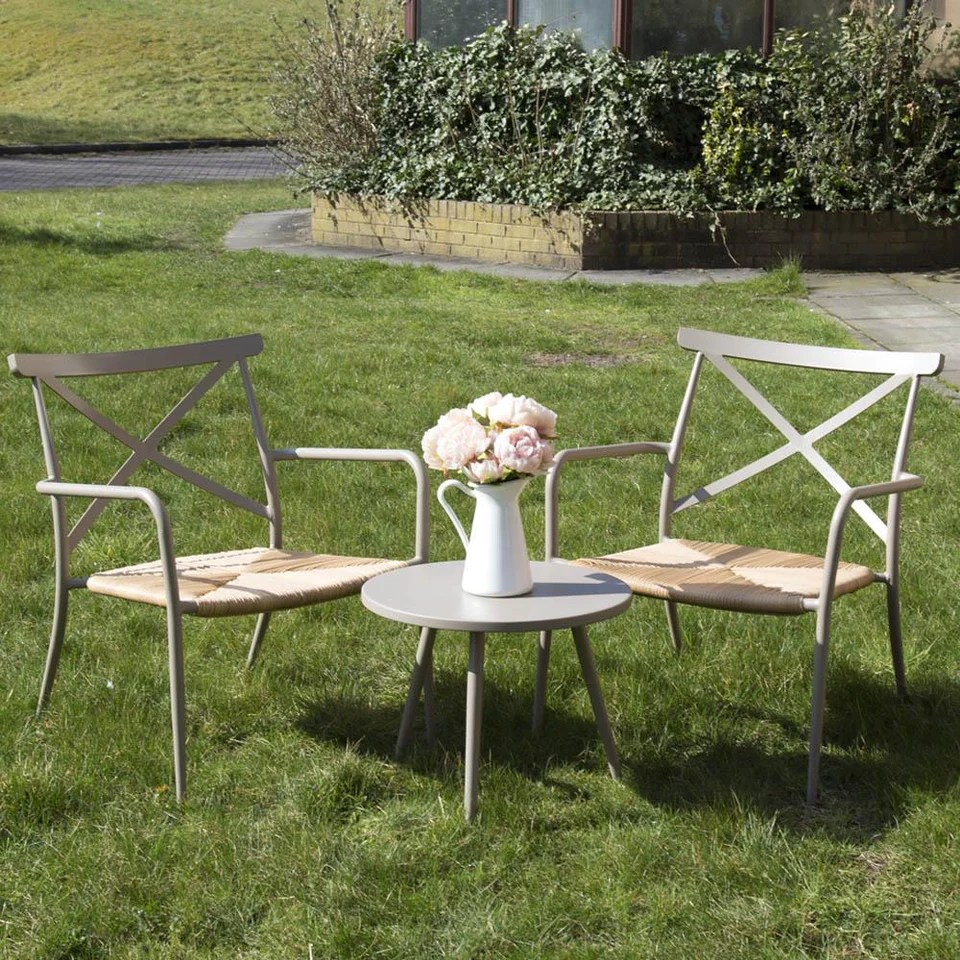 Table With 2 Chairs Oseasons Milos Round Side Table 2 Chairs Set Taupe Size Light Taupe