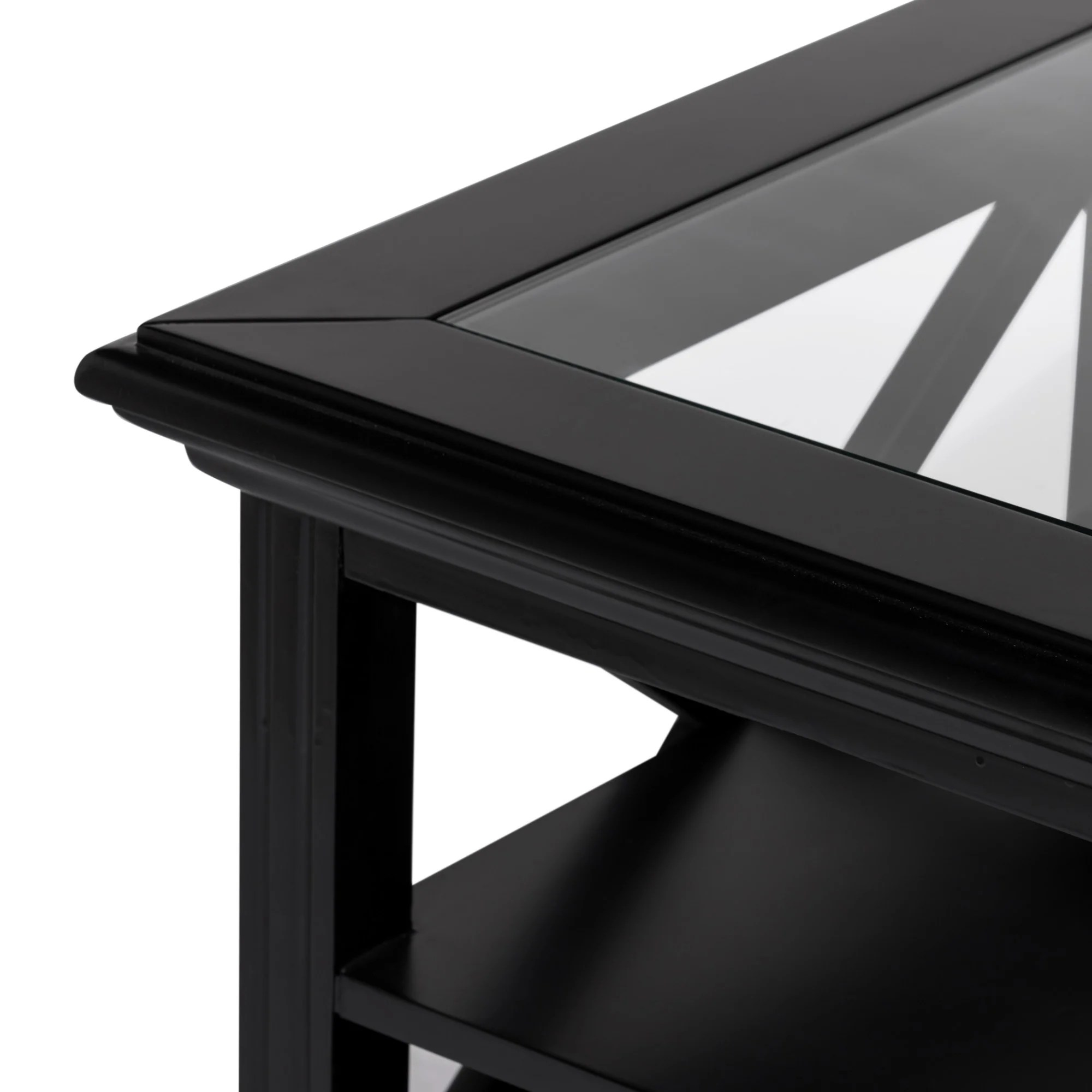 rhode island square glass coffee table black