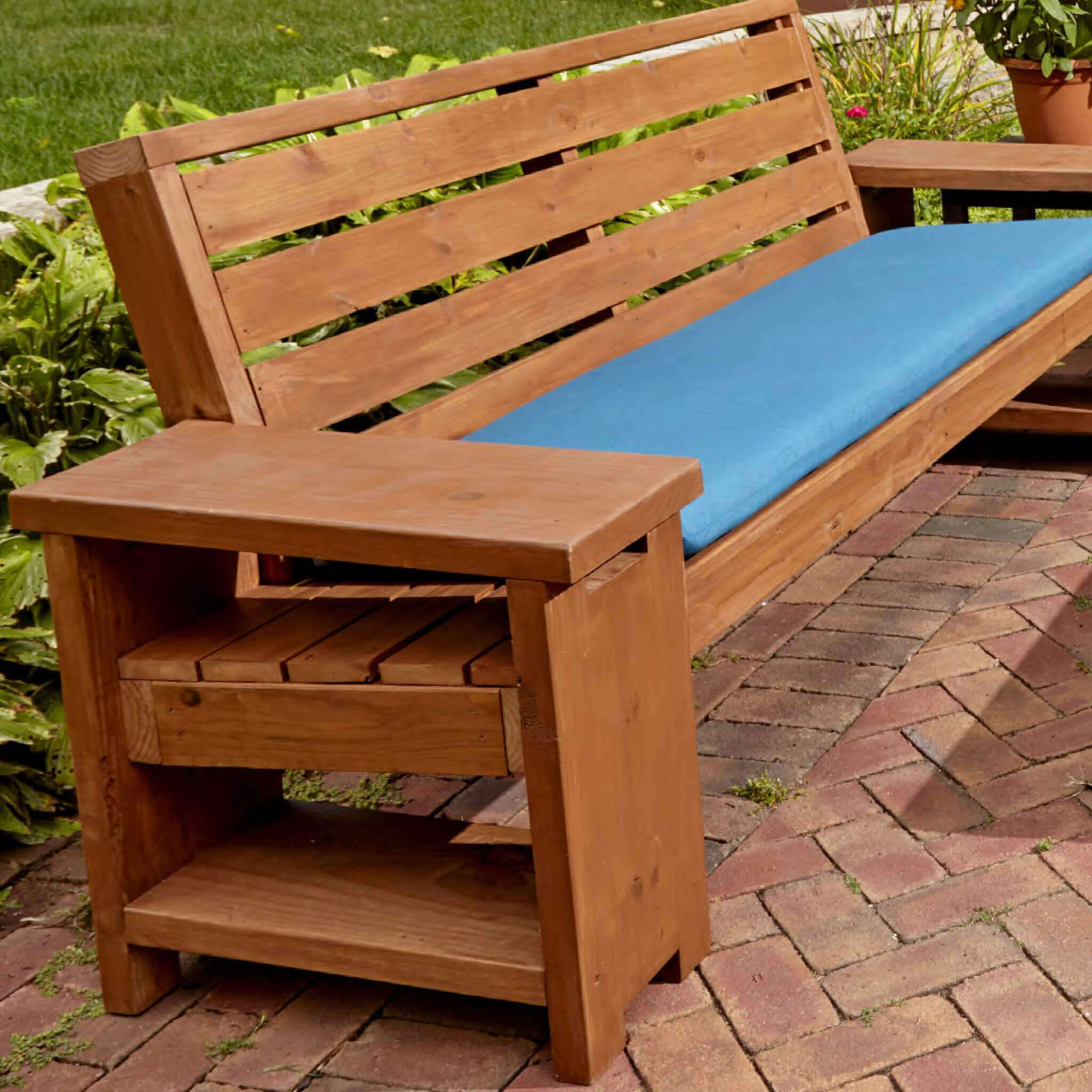 patio bench with built in end tables