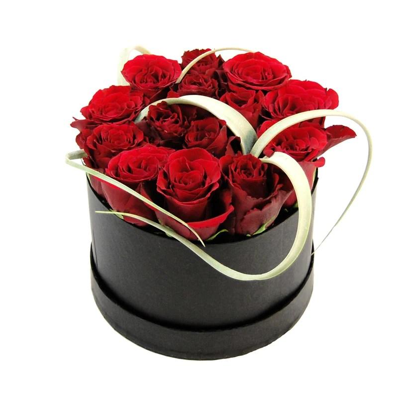 Rosenbox mit frischen roten Rosen versenden mit