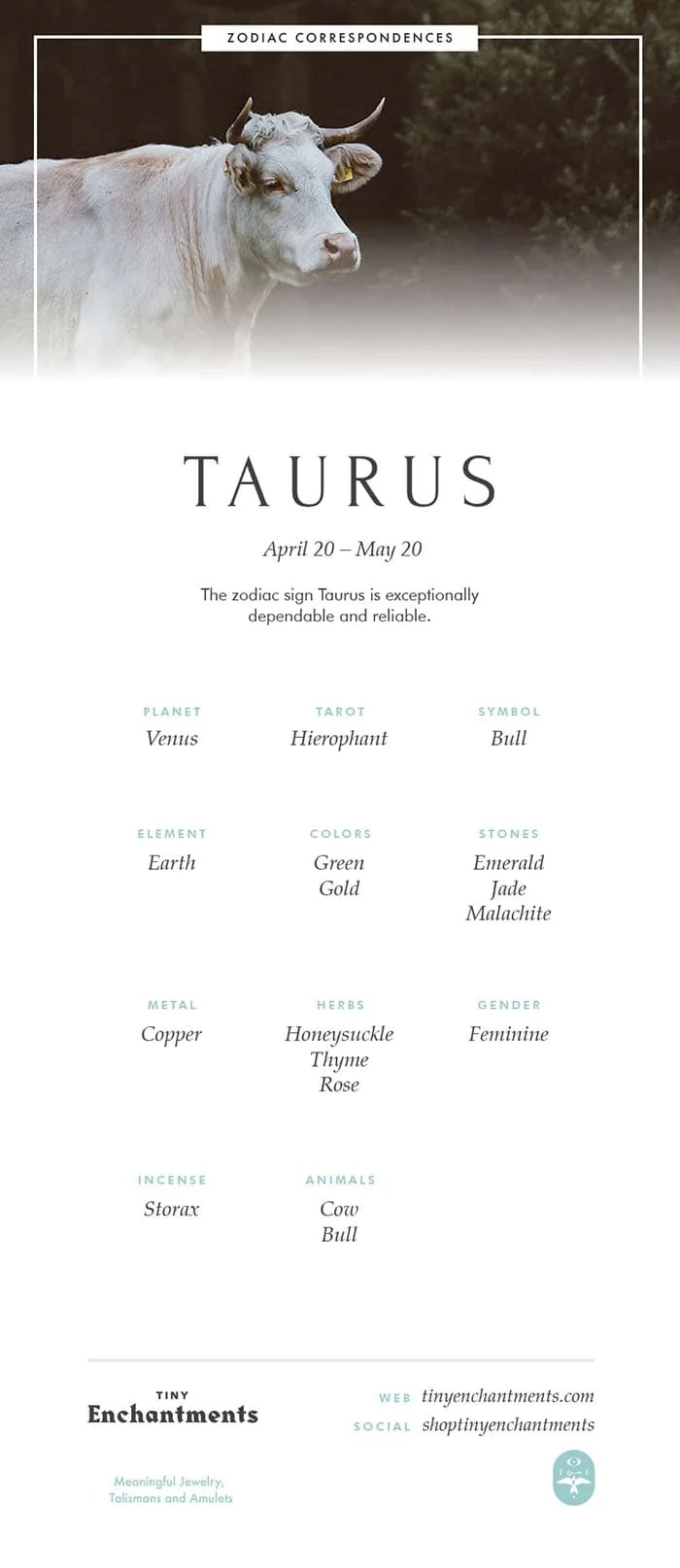 taurus zodiac sign correspondences
