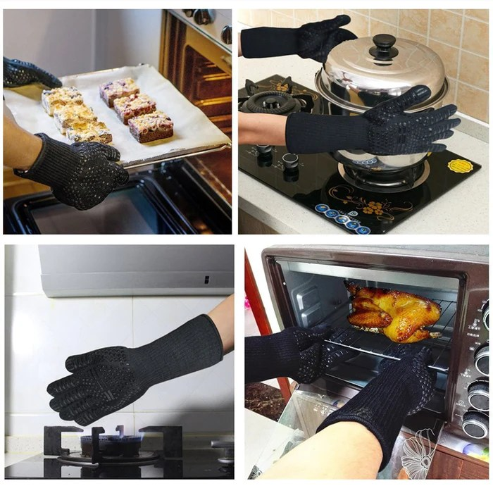 bbq kitchen interior design grilling gloves heat resistant silicone oven mitts