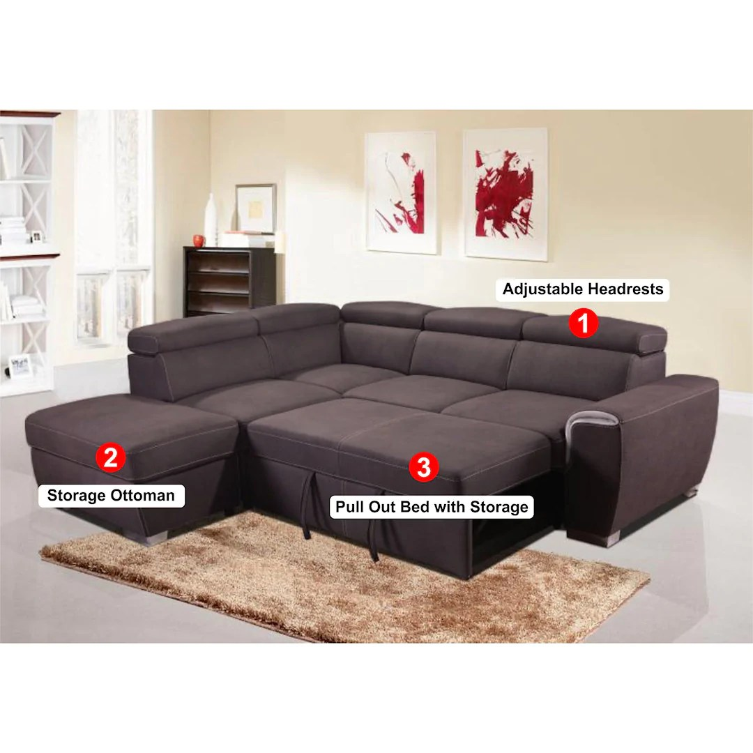 1096 pull out sleeper sectional with storage ottoman grey