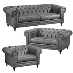 Grey Leather Chesterfield Sofa Mission Style Baci Living Room