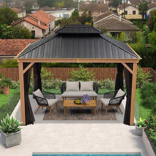 10 x 12 12 x 16 12 x 20 outdoor hardtop gazebo galvanized steel double roof permanent canopy teak finish coated aluminum frame with netting