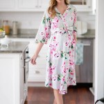 Olivia Floral Maternity Nursing Nightgown Delivery Robe Baby Receiv Gownies