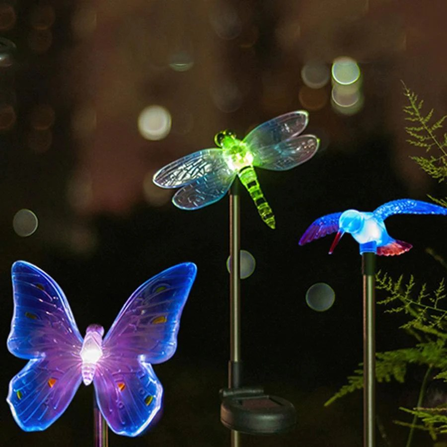 YARD & OUTDOORS - Color-Changing LED Garden Solar Light Outdoor Waterproof  Dragonfly/Butterfly