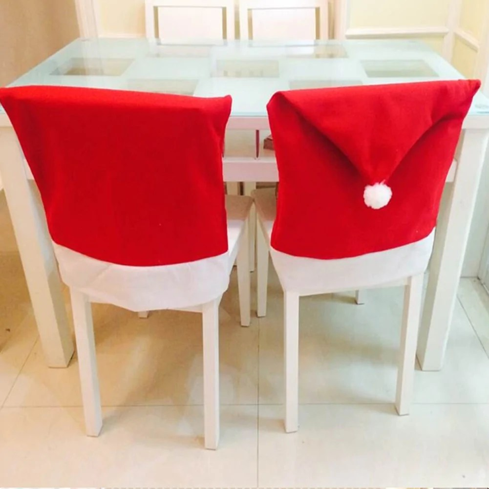 chair covers new year ikea wooden 6pcs lot christmas decoracion navidad hat decor decorations for home dinner table