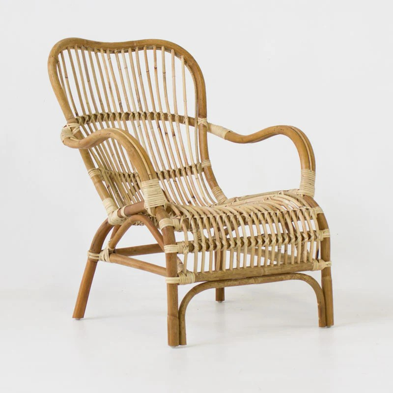 Beach Folding Chair In Yellow Rattan Eclectic Style Noosa