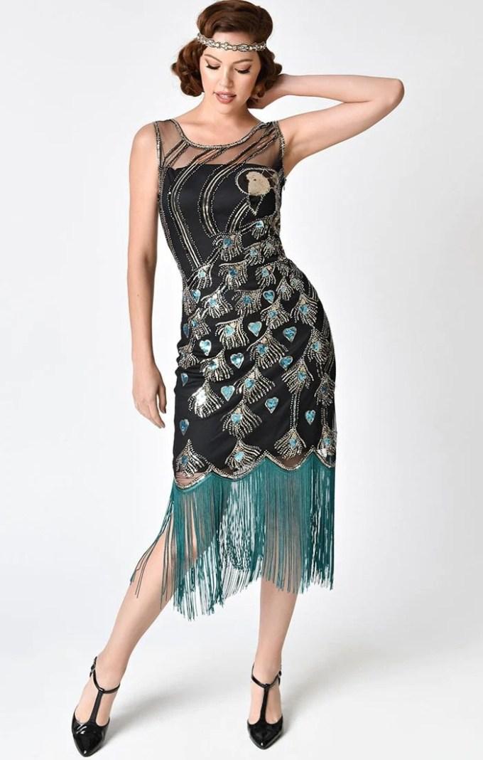 Peacock Beaded Flapper Dress-Antoinette