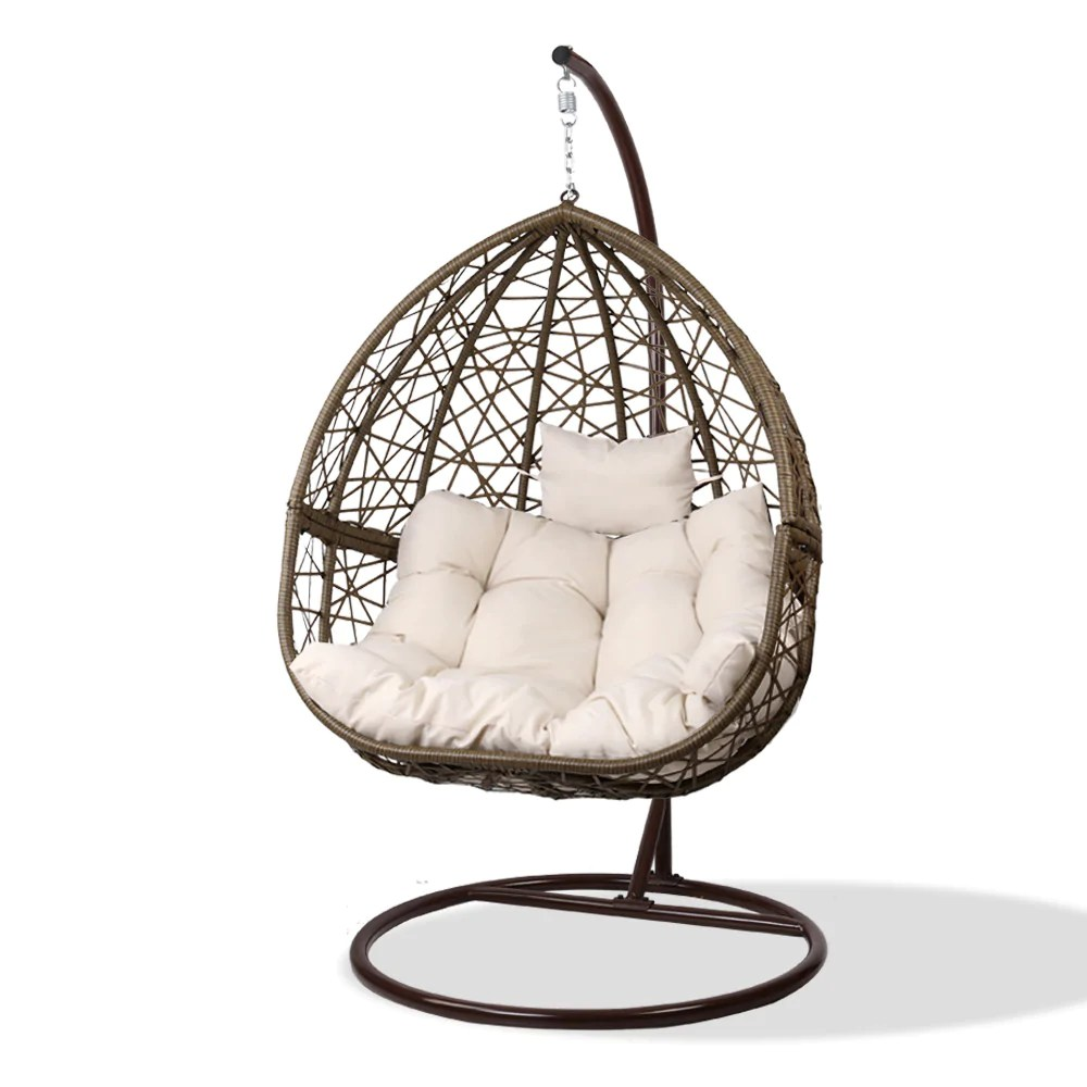 Egg Swing Chairs Gardeon Outdoor Hanging Swing Chair Brown