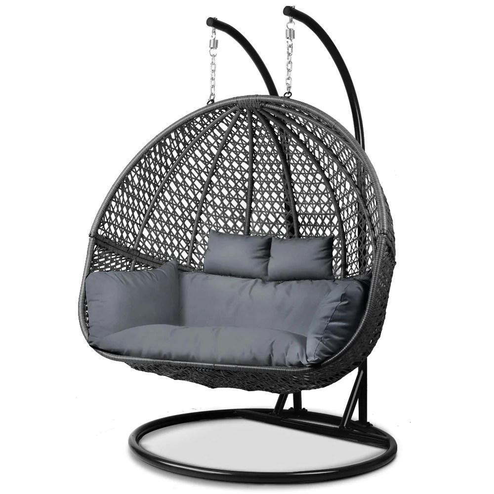 hanging chair qatar modern plastic gardeon outdoor double swing black loungeout