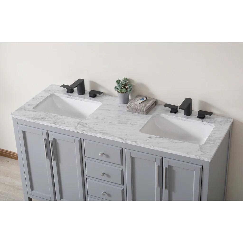 Stufurhome Wright 59 Inch Grey Double Sink Bathroom Vanity With Drains Stufurhome