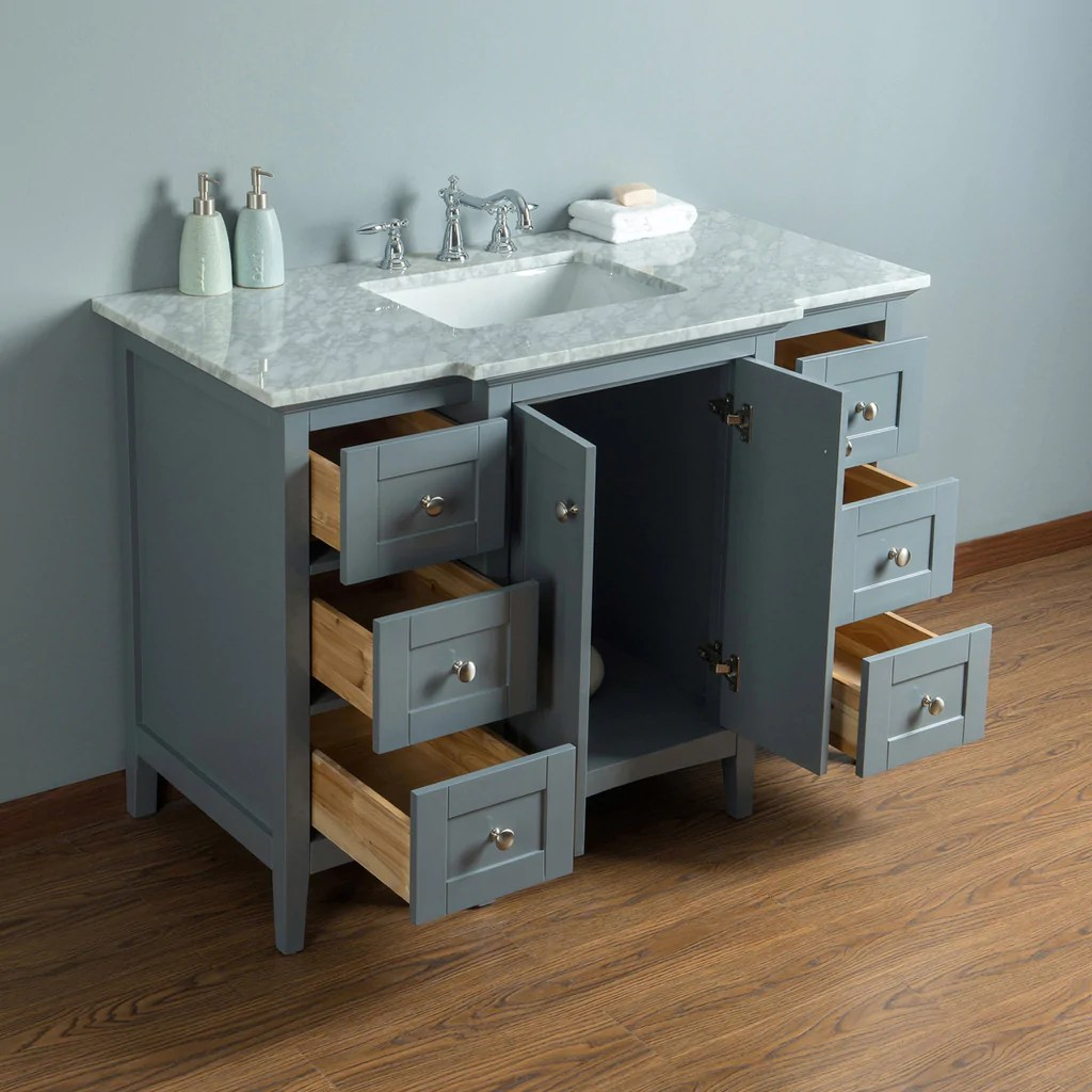 Stufurhome Tower Modern 48 Inches Grey Single Sink ...